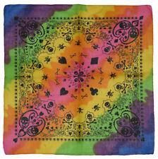 "Wholesale Lot of 12 Rainbow Skull & Paisley Printed 100% Cotton 22""x22"" Bandana"