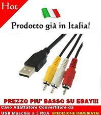Cavo Adattatore Convertitore da USB Maschio a 3 RCA Lunghezza 1,5 m Video AV A/V
