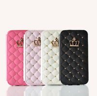 Luxury Quilted Leather Purse Flip Wallet Case Regal Cover For iPhone 6 6S 7 8