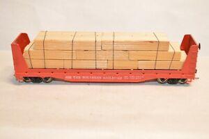 HO scale Tyco Southern Ry 50' bulkhead flat car train MW KD's LUMBER LOAD