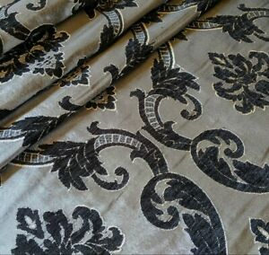 3.5m BLACK & Silver Grey Damask CURTAIN Cushion Blinds Fabric Material Remnant