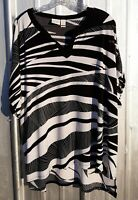 Chicos Size 3 Blouse Womens XL 16-18 Black White Zebra Print Cap Sleeve Unlined