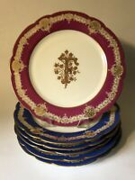 "Set of 6 ""Hache & Pepin Lehalleur"" Paris France 9"" Monogrammed Porcelain Plates"