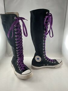 Converse All Star Chuck Taylor Black Tall Knee High Lace Up Zip M 4.5 W 6.5