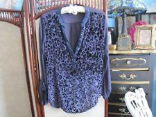 Imported Anthropologie TINY blouse long sleeve blue sequins  velvet blouse XS