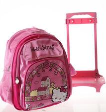 "16"" Kitty Girls Backpack School Roller Bag Kids Trolley Rolling Wheel Luggage"