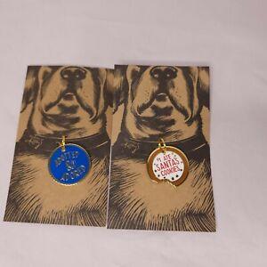 Lot 2 Metal Enamel Dog Collar Charm Tag Adopted & Adored I Ate Santas Cookies