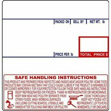 Cas Lst-8040/Lp-1000 Scale Label, 58 X 60 Mm, Safe Handling W/ Blue & Red