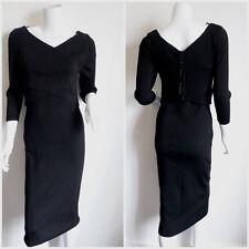 Women's Black Lurex Sparkling Knitted V Neck Wrap Pencil Midi Dress - UK12