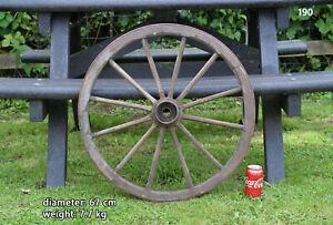 Vintage old wooden cart wagon wheel  / 67 cm - 7.7 kg - FREE DELIVERY