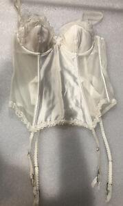 Victoria's Secret I Do Bridal Corset Teddy Garters Ivory 36B Push Up Boned