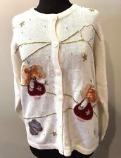 ONE RESOURCE Womens White Angel Christmas Sweater Size 2X Ugly Beautiful Tacky