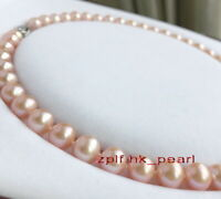 "AAAAA 18""10-11mm Natural real round south sea GOLD PINK pearl necklace 14K GOLD"