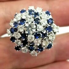 14K Solid White Gold 2.0 Ct Diamond & 1.50 Ct Sapphire Cocktail Ring -14 grams