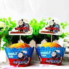 Set 24pcs Thomas The Train Kids Birthday Party 12 Wrap +12 Cupcake Cake Toppers