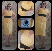 Sassy LE DODO canary yellow Italian vintage 80s 50s rockabilly pencil dress