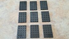 Lego Black Plate 4 x 6, part 3032, lot of 9