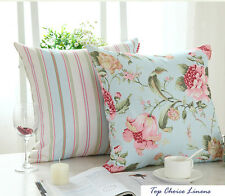 Home Decorative French Provincial Country Rose/Stripes Cushion Cover-LightBlue