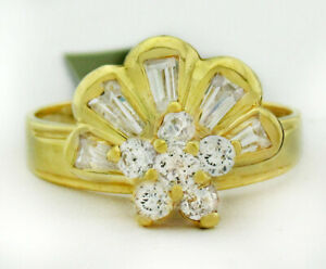 GEMSTONES 1.25 Cts WHITE SAPPHIRES SPINNING TOP RING 10K GOLD ** New With Tag **