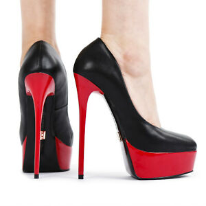 Giaro GALANA black pumps with red shiny heel and platform