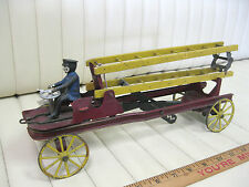 1910 era WILKINS Fire Ladder Truck Wind Up Wood and Metal Toy