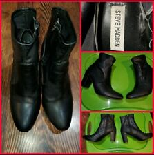 "Black Steve Madden vegan Leather zip ankle boots booties shoes 8.5 8 1/2 3"" heel"