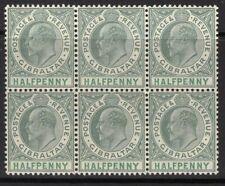 GIBRALTAR SG56 1904 ½d DULL & BRIGHT GREEN MNH BLOCK OF 6