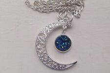 Crescent Moon & Sparkly Round Blue Druzy 12mm Necklace - Organza bag