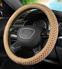 38CM Car Steering Wheel Cover Beige Microfiber PU Leather+Breathable Ice Silk