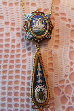 ANTIQUE VICTORIAN ITALY MICRO MOSAIC PENDANT w/ DANGLE DROP FOB SWAN BEE INSECT