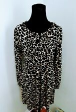 En Focus Studio long sleeved Animal Print shift Flared Size 10 dress black beige