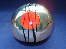 Numbered & Signed CORREIA Art Glass PAPERWEIGHT Silver Sky Red Sun Black Birds