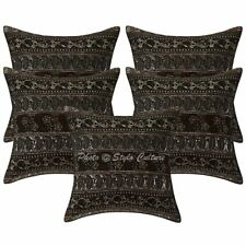 Cotton Zari Embroidered Pillow Case Covers Ethnic Set Of 5 Floral Cushion Cover