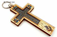 "5"" Wood Wall Cross Religious Home Decor with Gemstones Catholic Holy Land Gift"