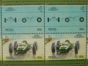1960 COOPER CLIMAX T53 Formula One F1 GP Race Car 50-Stamp Sheet (1985 Nevis)