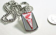 DETROIT REDWINGS NHL PENNANT STAINLESS STEEL DOG TAG NECKLACE  3D BALL CHAIN