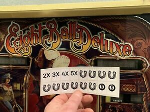 Eight Ball Deluxe Style Pinball Vinyl Die Cut Target Stickers/Decals - 16 Total
