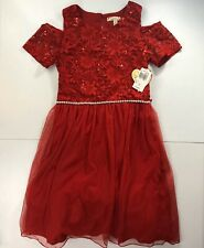 Speechless Childrens Girls Dress Red Cold Shoulder Party Size 16 MSRP $60 NWT