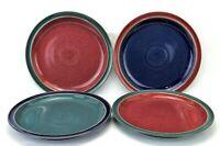"Denby England Harlequin Set of 4 10.25"" Dinner Plate Blue Red Green Stoneware"