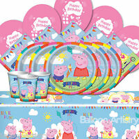 Peppa Pig Complete Party Supplies Plates Cups Napkins Table Cover Balloons 8-16