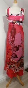 Save The Queen Size M Pink Floral Cross Strap Midi Dress Sleeveless Suummer