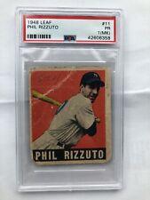 1948 Leaf # 11 - PHIL RIZZUTO - Rookie RC - PSA 1 (MK) - New York Yankees (6358)