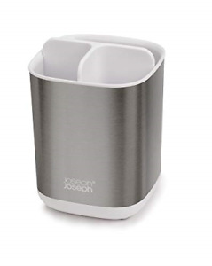 Joseph Joseph Bathroom Easy-Store Steel Toothbrush Caddy- White/Steel