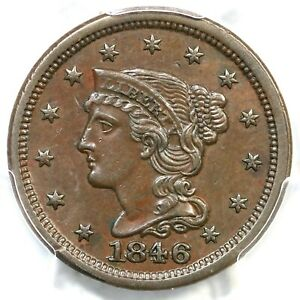 1846 N-4 PCGS AU 55 CAC Small Date Braided Hair Large Cent Coin 1c