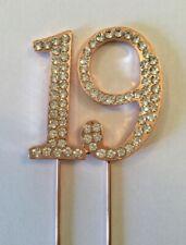 19TH ROSE GOLD BIRTHDAY DIAMANTE CAKE TOPPER DECORATION NINETEEN 19 TH UK SHOP