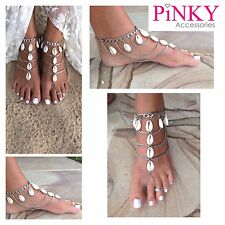 Silver Anklet Jewelry Ankle Bracelet Foot Barefoot Chain Toe Ring Shells Boho UK