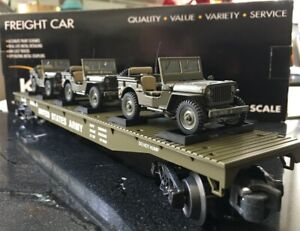 K-line 3 Army Jeeps flat car auto carrier freight train MTH Lionel