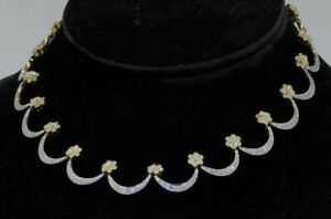 Heavy 14K 2-tone gold 4.43CTW diamond cluster formal floral link necklace