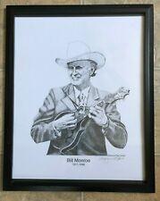Raymond Hunt Vintage Print Signed, Bill Monroe, 2008, framed, Nashville, 2008