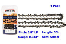 """16 Inch 3/8"""" LP Pitch 0.043'' Gauge Semi Chisel Chainsaw Chain 55 Links"""